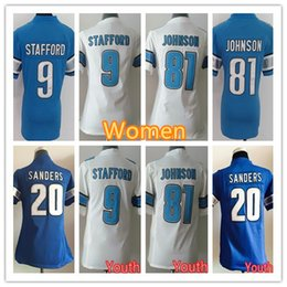 f5b1a6e83 Youth Women's Detroit Jerseys Lions 9 Matthew Stafford 21 Ameer Abdullah 20  Barry Sanders 81 Johnson Football Jersey ...