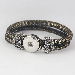 $enCountryForm.capitalKeyWord NZ - European Brand hot sale Black Gold Color noosa bracelet NOOSA chunks snap button jewelry with rose flower