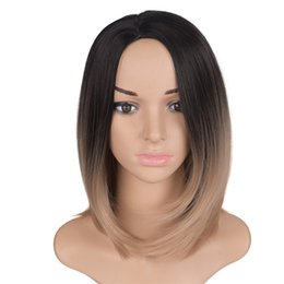 BoBo hair wigs online shopping - Mtmei hair Ombre Bobo Wigs Inch g Synthetic Green Purple Silver Gray Brown Blonde Short Straight Wig For Black White Women