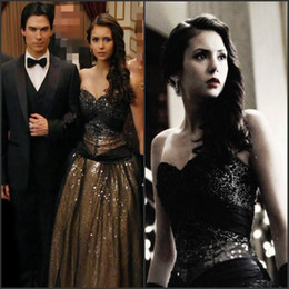 Black Bandage corset dress online shopping - Amazing Gothic corset Black Prom Dresses Long Ball Gown Nina Dobrev dress in Vampire Diaries Luxury Sequined Evening Gown