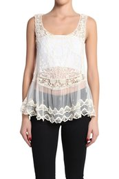 Barato Colete Crochete Bege-Sexy Beach Embroidery Bege Vintage Retro Doce Cute Casual Crochet Floral Oco Lace Vest Slim Bohemia Tank Top Tee Blusa Para Mulheres