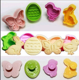 Discount bag cake mold Easter Eggs Fondant Cookies Mold Eater Rabbit 3D Cake Stamp Cutter Sugarcrafts Decoration OPP Bag Package 5set lot(4pcs