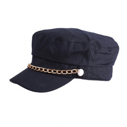 Baseball Hat Wholesalers Canada - 2017 New Women Military Hats with Gold Metal Chain Students Solid Curved Brim Flat Top Baseball Cap