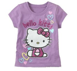 new summer baby girl hello kitty 2019 - Retail New Baby Girl Cartoon Hello Kitty Short T Shirt Girl's Cotton Summer T Shirt Kids KT Cat Pink Rose Red T-Shi