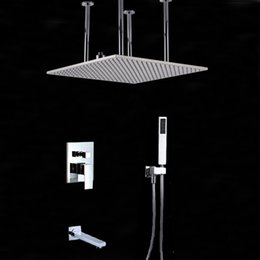 "$enCountryForm.capitalKeyWord NZ - Wholesale And Retail Polished Chrome Finish 20"" Square Rain Shower Faucet Head Single Handle Valve Mixer Tap Tub Spout Hand Unit"