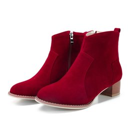 Black Blocks Canada - New Hot Fashion Women's Ankle Boots Girl's Faux Suede Round Toes Zip Block Heels Shoes B716 Black Red Beige Gray
