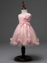 China Latest design flower girls wedding dress 3D rose baby girl tutu skirts kids girl's party yarn tulle organza dresses children ball gown cheap organza rose dress suppliers