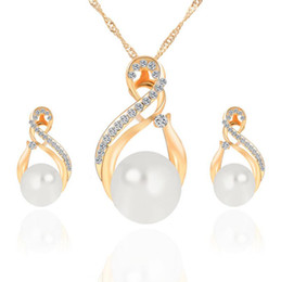 Top China Wholesale Fashion Jewelry NZ - Pearl Jewelry Sets Top Quality Necklace Earrings Set For Women Fashion Crystal Jewelry Set Free Shipping 42K20