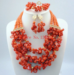$enCountryForm.capitalKeyWord Australia - Unique New Peach Coral Color Turquoise Beaded Nigerian Wedding Beads African Beads Jewelry Set HD303-4