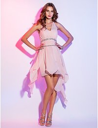 Robes De Cocktail Rose Discount Pas Cher-2016 Nouveau Remise Hot Fashion Pearl Rose Plus Tailles A-ligne Halter Cascading Ruffles Court / Mini Soirée Chiffon / Homecoming / Robes de Cocktail