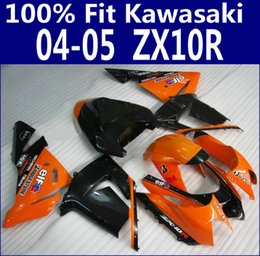 Abs Australia - Injection molding ABS fit for Kawasaki ZX-10R 04 05 bodywork fairings ZX10R 2004 2005 black orange fairing kit LP95