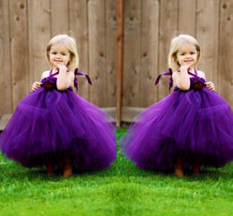 S'habiller Pour Les Enfants Pas Cher-Lovey Purple Flower Girl Dresses 2015 A Line Halter avec fleur Sans manches Zipper Back Floor Length Soft Tulle Cheap Confortable Kid Dresses