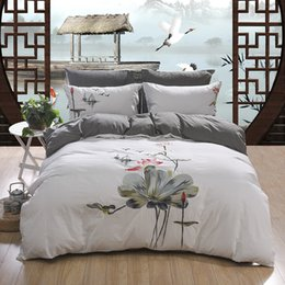 super soft washed cotton duvet cover 15 colors embroidered bedding set 4pcs king queen size bed sheet set pillow shams