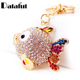 Led for fishing online shopping - beijia Colorful Crystal Tail Fish Goldfish Keychains HandBag llaveros Keyrings Key Chains Purse Bag Pendant For Car Women K252