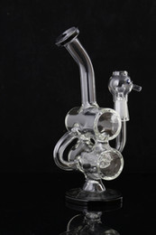 "Double Barrel Recycler Bong Canada - Recycler Glass Bong Double Barrel Bongs Water Pipes with oil rig Glass Dome Glass Nail 14.4mm Joint Height 8.2"" Hookahs"