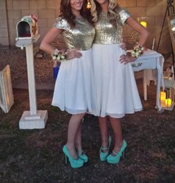 $enCountryForm.capitalKeyWord NZ - Short Gold Sequins Cheap Bridesmaid Dresses 2018 A Line Knee Length Pleats White Chiffon Capped Sleeve Maid of honor Gowns
