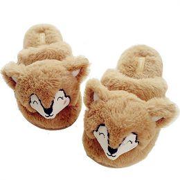 20af0bdc3c99 Lovely Cartoon Cotton House Slippers Women Winter Indoor Warm Plush Khaki  Fox Style Home Shoes bayan terlik pantoufle femme 2018