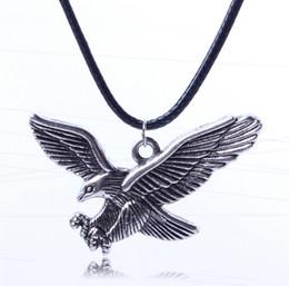 Hawks sale online shopping - Hot Sale Vintage Silver Eagle Pendant Necklaces Cool Men Women s Animal hawk Pendants Leather Necklaces MN20