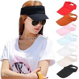 Orange Sun Visors Canada - Wholesale-Superior Women Visor Sun Plain Hat Sports Cap Colors Golf Tennis Beach Hat Adjustable June11