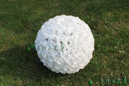 $enCountryForm.capitalKeyWord Canada - 30CM 12 Inch Elegant White Artificial Rose Silk Flower Ball Hanging Kissing Balls For Wedding Party Decoration Supplies 7 color to choose