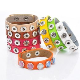 $enCountryForm.capitalKeyWord Canada - Leather Bracelets Drill fit For Noosa Snaps Chunk Charm Button hot Noosa Bracelet 24x1.5cm Multi color Noosa personalized buttons