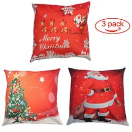"sock packs NZ - Merry Christmas Throw Pillow Cover 3 Pack Cotton Linen Pillowcase Home Car Decorative Cushion Cover Red 18"" x 18"""