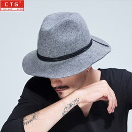 $enCountryForm.capitalKeyWord Canada - Wholesale-100% wool fedora felt Black Panama hat men vintage jazz 7cm brim classic trilby leisure stage proformance cap B-1494