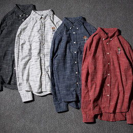 Red Black Grey Shirts Canada - 2017 new fall Style Men's shirt with vertical stripes Mens a sanding Mens wholesale cardigan Red, light grey, dark grey