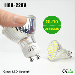 Bulb Warmer Heat Lamps Canada - BEST Selling 10Pcslot Energy Class A++ Full Watt 7W GU10 LED Spotlight Bulb 110V 220V 2835 SMD Heat resistant Glass Body 60 LEDs lamp light