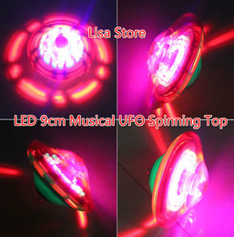 beyblade led UK - Free EMS 60pcs 9cm LED beyblade spinning top toys musical peg-top for baby novelty classic toy fusion flash led electric UFO Various angles