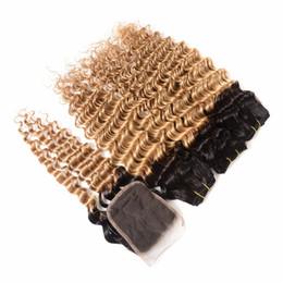 $enCountryForm.capitalKeyWord NZ - 1B 27 Deep Weave Human Hair Extensions 3 Bundles with Free Part Lace Closure 8A Grade Brazilian Human Hair Unprocessed Virgin Hair