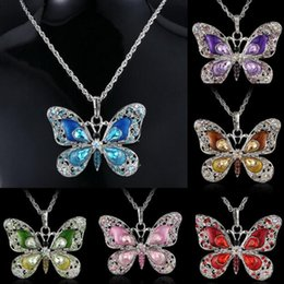 necklaces pendants Australia - Diamonds Butterfly Pendant Necklaces Alloy Link Chain Statement Charm Sweater Chains Jewelry Women Ladies Christmas Gift Accessories