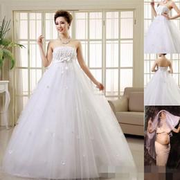$enCountryForm.capitalKeyWord Canada - Pretty Pregnant Wedding Dresses Women Married Strapless A-Line Dresses Lace-up Floor-Length Plus Size Bride Maternity Wedding New