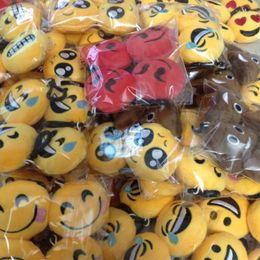 $enCountryForm.capitalKeyWord NZ - New Wechat Emoji KeyChains 6-8cm Small Emoji Smiley Keyring Yellow QQ Expression littel Stuffed Plush Doll Hanger for handbag pendant DHL