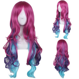 Discount purple hair lolita cosplay - Women Ombre Wave Synthetic Hair Wig Fashion Lolita Daily Heat Resistant Hair Harajuku Purple Gradient Long Wavy Cosplay