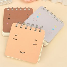 Discount small notebook pads - 3pcs lot Lovely Mini Expression Portable Coil Notepad Small Blank Notebook Diary Sketchboook Remark Memo Pad Student Sta