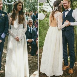 2015 Vintage Lace Wedding Dresses With Long Sleeves High Neck Backless Gowns Floor Length Rustic Bridal Custom Made