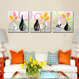 potted peony NZ - 3Pieces Free shipping Home decoration on Canvas Print orange fruit juice Bamboo fish potted flower chinese characters peony sea Stone Bridge