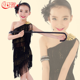 c7447be1914 Kids Ballroom Dresses Canada - New Kids Latin Dance Dress Black Blue Red  3Colors Sequins Tassel