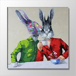 oil paintings rabbits UK - Lovers Rabbit Pure Hand Painted Animal Abstract Oil Painting Modern Wall Decoration Home Living Room Bedroom