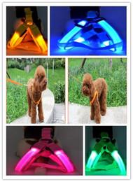 Light Dog Collar Belt Canada - 2015 HOT 7 Colors Battery Operated LED Flashing Dog Harness Collar Belt Pet Cat Dog Tether Safety Light Collars Pet supplies 1000PCS 520