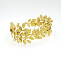 China Gold Olive Leaves Tiaras For Brides Handmade Bridal Headband Hair Pieces Unique Bridal Headpiece Bridal Hair Accessories Floral Crown Bridal suppliers