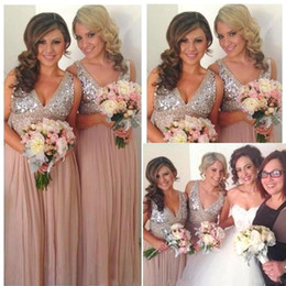 long bling wedding dresses 2019 - Bling 2017 Sexy Sequins Chiffon V Neck Bridesmaid Dresses Rose Gold Sparkly Maid of Honor Bridal Wedding Party Gowns BA1
