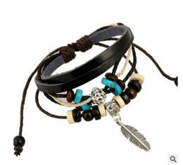 Vintage tin jewelry box online shopping - Punk New Trendy Vintage Leather Braided Bracelet Female Bangle Cuff Wristband Women Charm Jewelry Leaves Pendant Beads Bracelet
