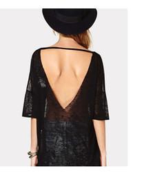 Venta al por mayor de camiseta de verano camisa negra trufa espalda ancha hueca sexy camiseta