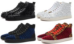 Discount spike stud sneakers - New arrival men's shoes Flat Spikes Sneakers Multicolor Studs Men woman Fashion boots Free shipping Size: 36-46