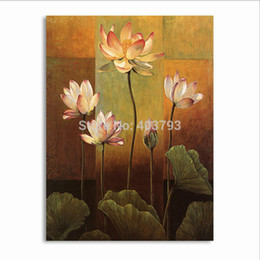Modern Abstract Flower Paintings Canada - 1Pcs Lot Pure Lotus Flower Painting Canvas Wall Art Picture For Living Room Canvas Hand Painted Modern Abstract Oil Painting