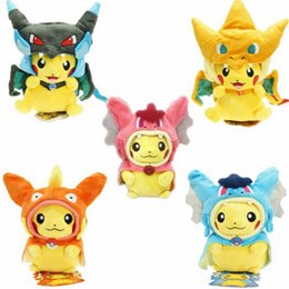 Pokemon Kids Figures Australia - 9 Inch Poke Figures Plush Dolls Toys 25CM 7 Styles Children Pikachu Charizard Slowpoke Poke Ball Plush Dolls Toy Cloak Pikachu OTH676