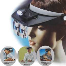 Loupe Wholesalers Australia - Headband Headset LED Head Light Magnifier Magnifying Glass Loupe 4x Lens
