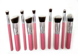 $enCountryForm.capitalKeyWord Canada - Best Quality 10pcs Makeup Brush Set For Women Kabuki Brush Pro Cosmetic Brush Pink Color Make Up Brush Kits Foundation Eyeliner Brushes